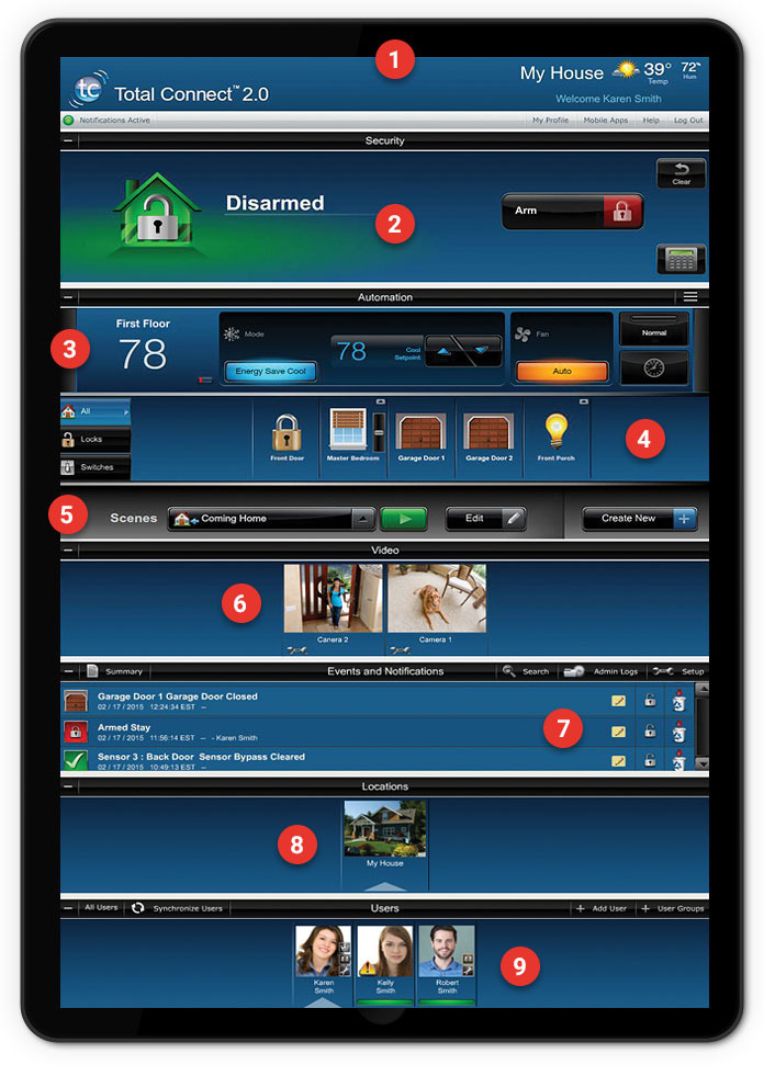 Total connect wireless video camera notification for Total home control